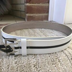 Calvin Klein black/white leather belt, small